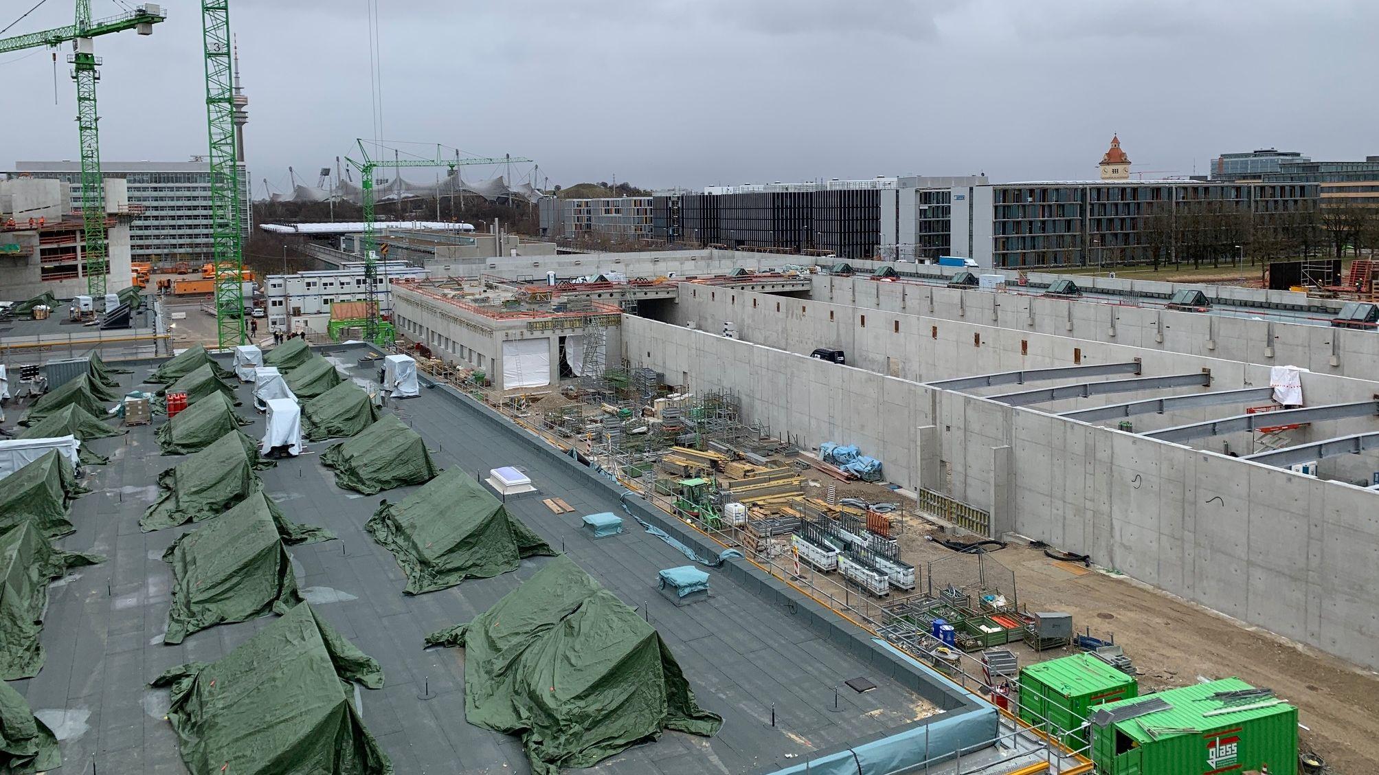 Blick auf die Baustelle des Bus-Betriebshof der MVG