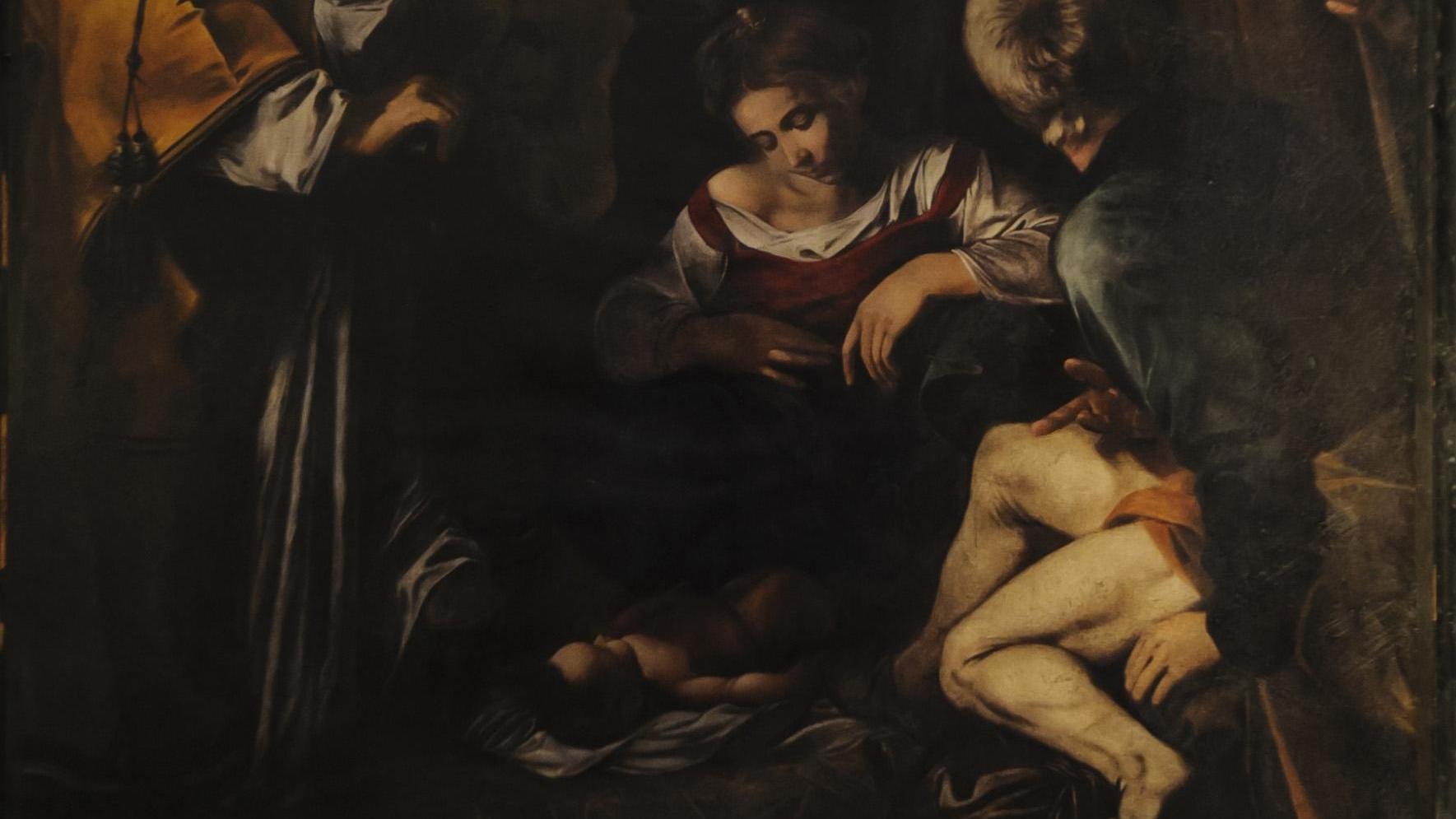 """Eine Rekonstruktion des Gemäldes """"Geburt Christi"""" von Michelangelo Merisi, bekannt als Caravaggio, hängt seit 2015 im Kloster San Lorenzo."""