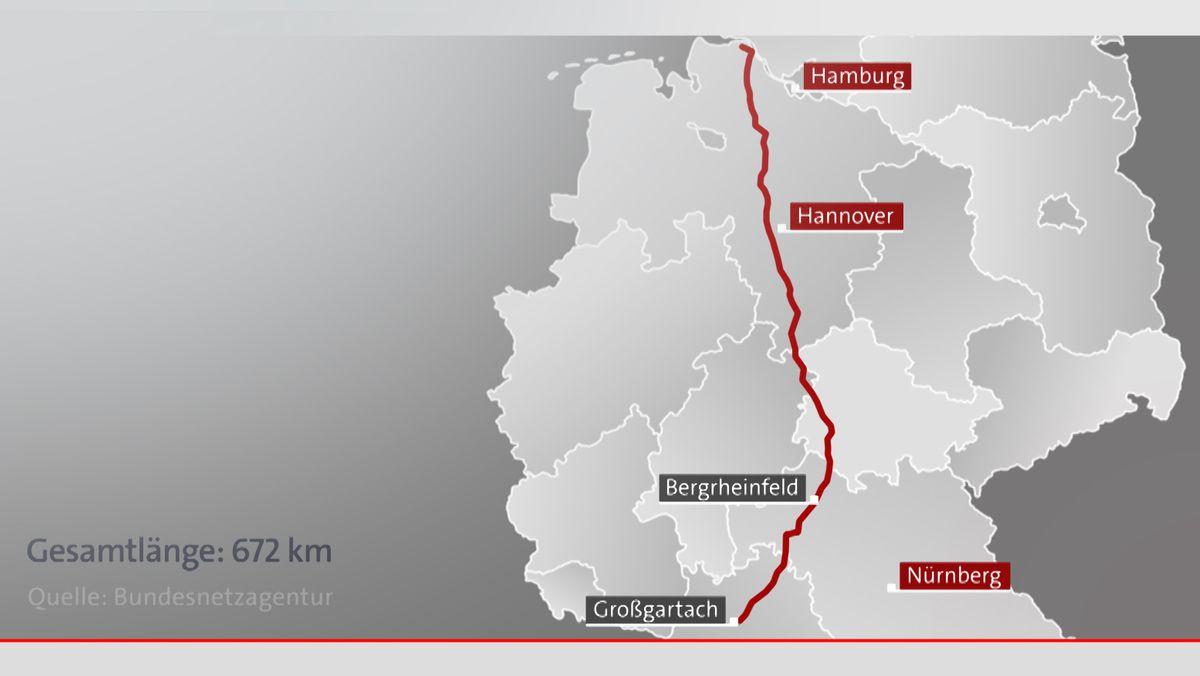Auf der Deutschlandkarte ist der geplante Verlauf der Stromtrasse SuedLink von Norddeutschland über Bayern bis nach Baden-Württemberg eingezeichnet.
