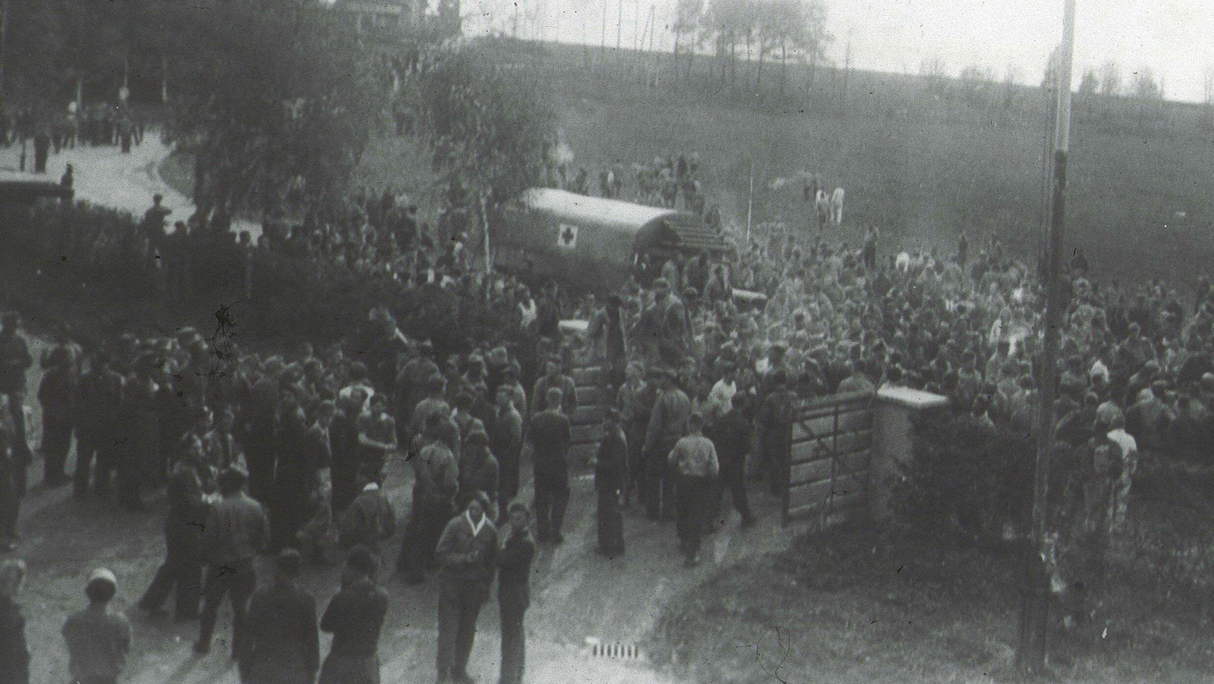 Befreiung des Kriegsgefangenenlagers Stalag VII B Memmingen am 26. April 1945.