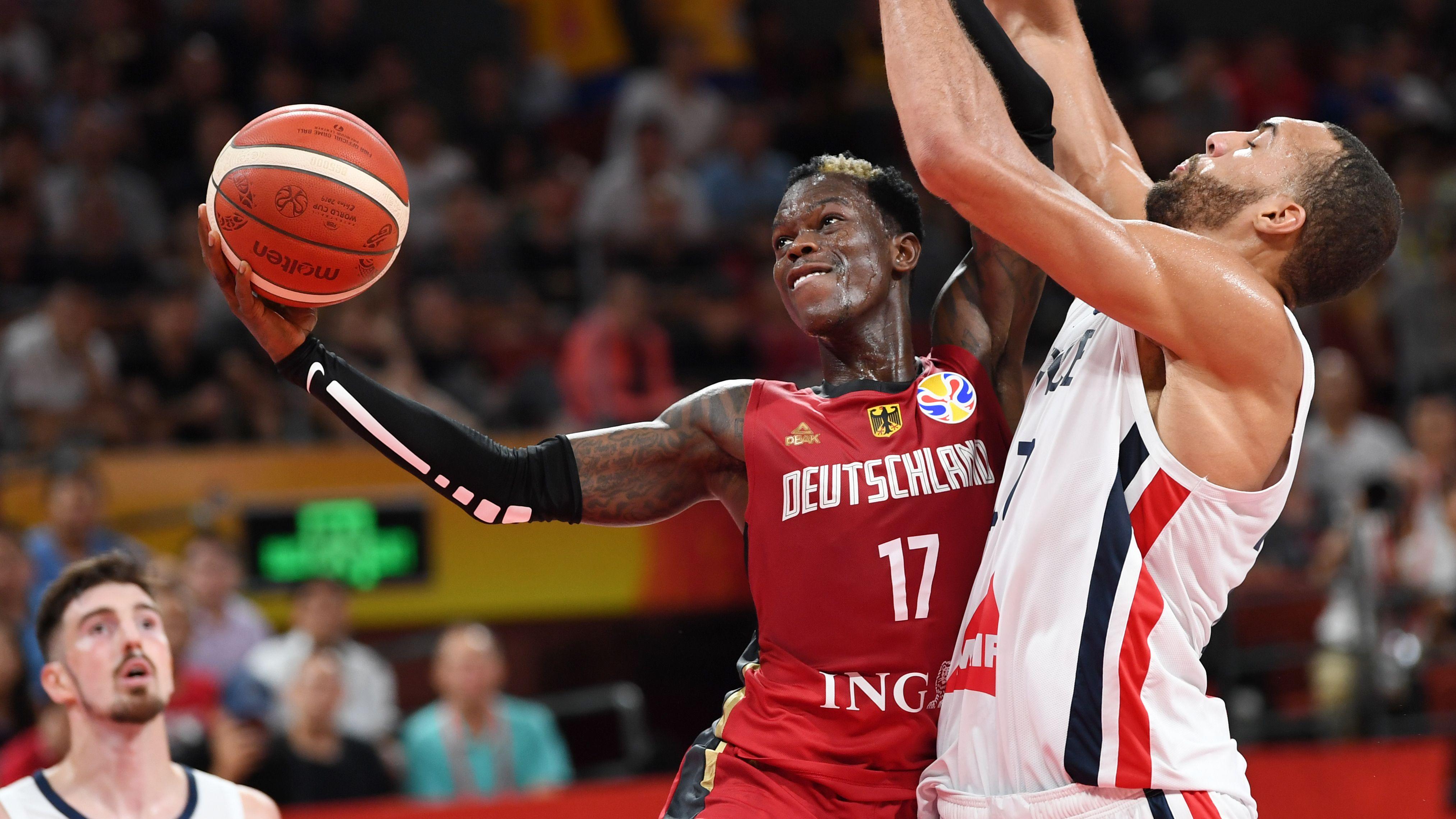 Basketball-WM: Spielszene Deutschland - Frankreich