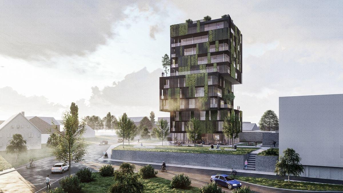Projektion des geplanten Medizincampus Wertingen: ein grün bewachsenes Hochhaus