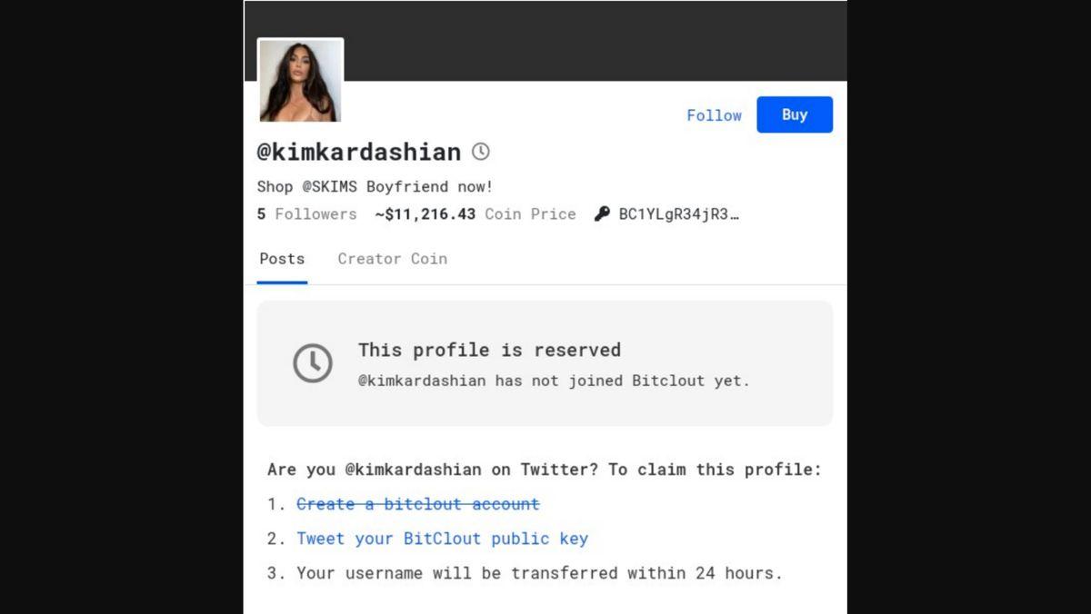 Das BitClout-Profil von Influencerin Kim Kardashian. Selbst angemeldet ist sie nicht.
