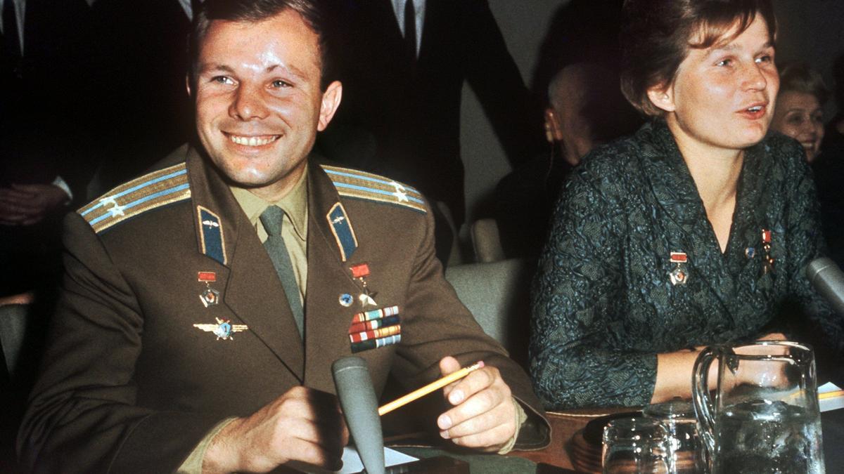 Der erste Mann und die erste Frau im All: Juri Gagarin und Valentina Tereschkowa 1963 in New York.