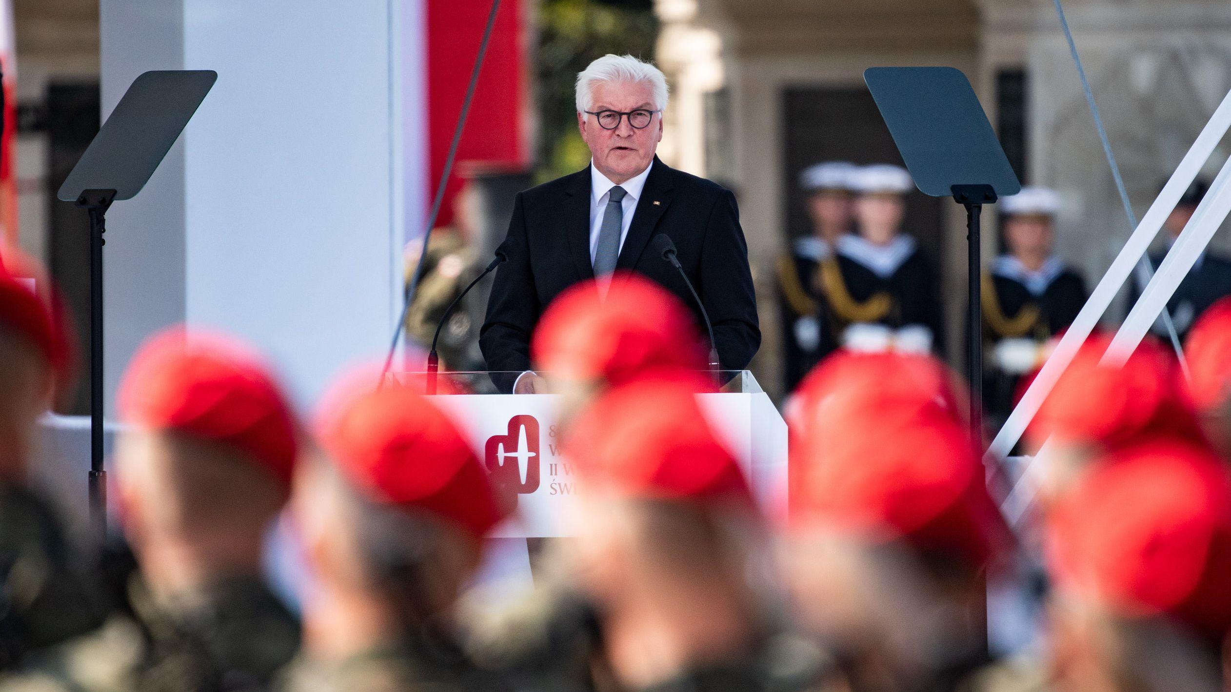 Bundespräsident Frank-Walter Steinmeier spricht in Warschau bei den zentralen Gedenkfeierlichkeiten der Republik Polen zum 80. Jahrestag des Beginns des Zweiten Weltkriegs.