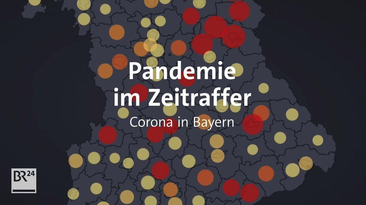 Bayernkarte mit einer Momentaufnahme der Corona-Pandemie