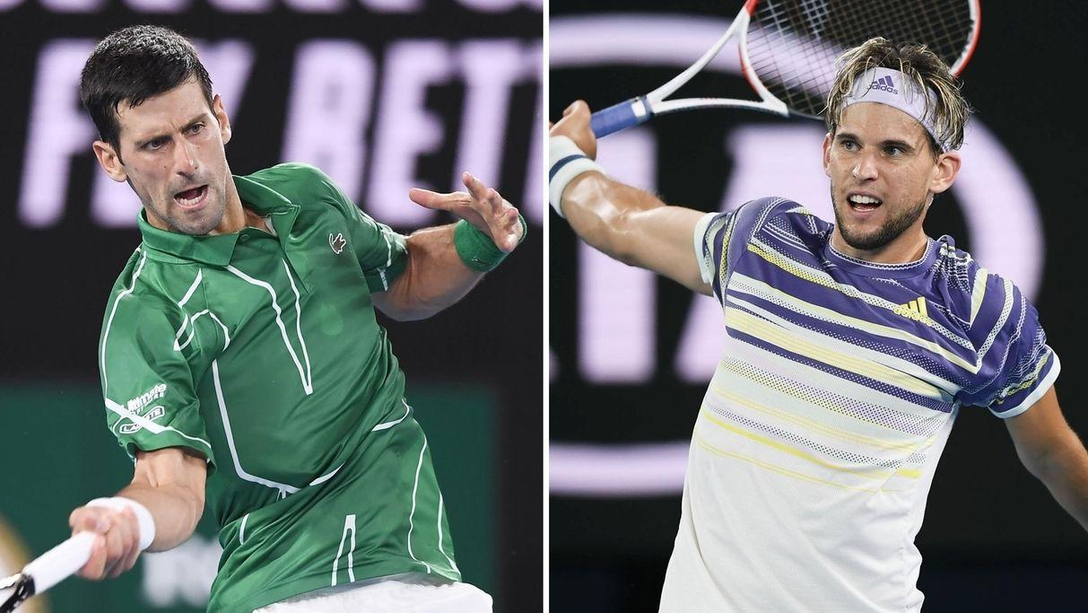 Novak Djokovic (li.) und Dominic Thiem (re.)
