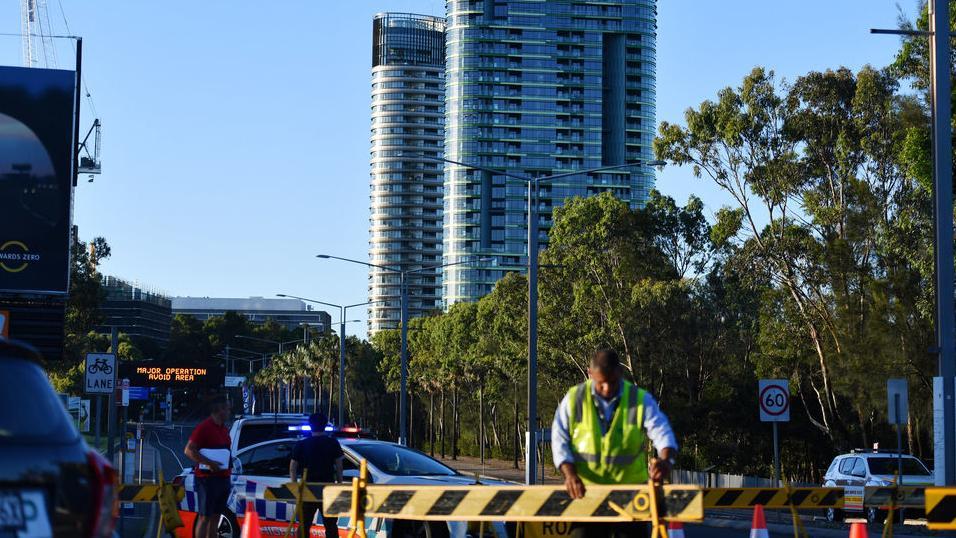 Polizeiabsperrung vor dem Opal Tower in Sydney