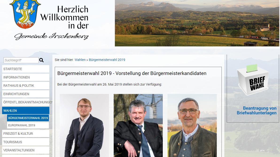 Screenshot der Homepage der Gemeinde Irschenberg: Die Kandidaten Marcus Hermann, Klaus Meixner und Hans Nirschl (von links).