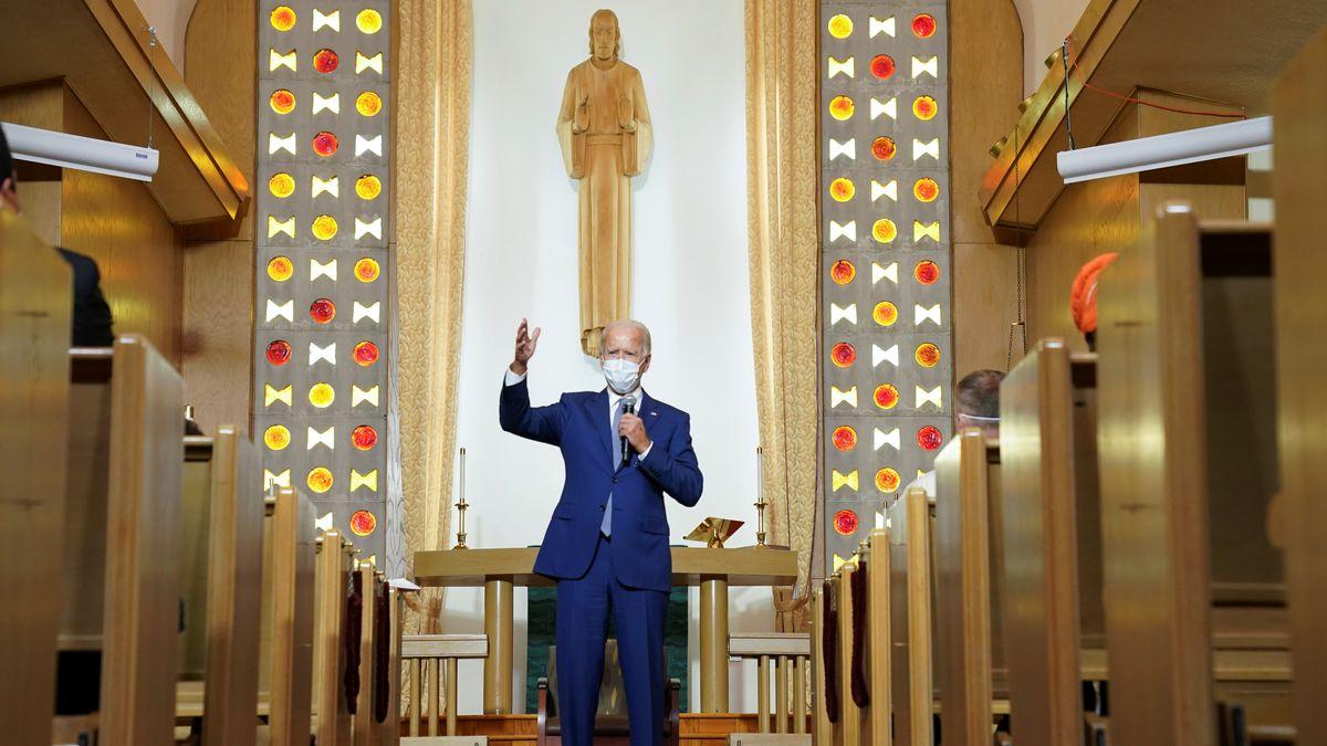 Joe Biden spricht in der Grace Lutheran Church in Kenosha
