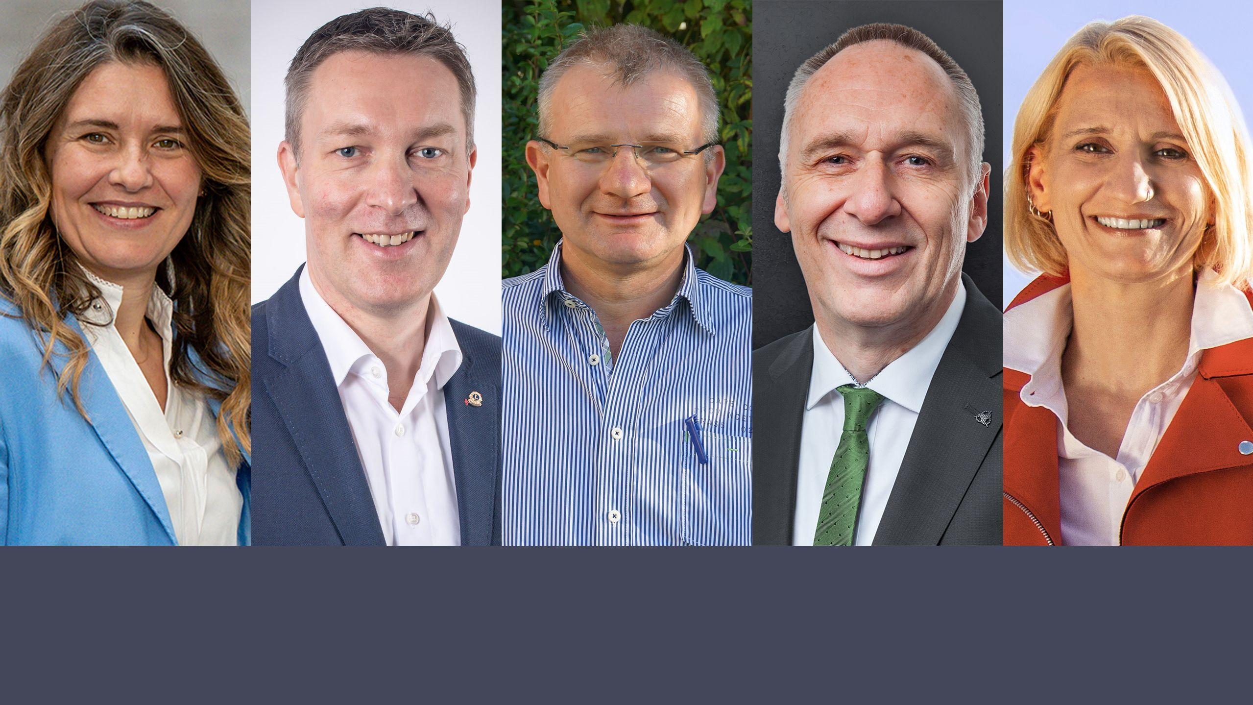 Die fünf Landratskandidaten aus dem Landkreis Main-Spessart: Sabine Sitter (CSU), Christoph Vogel (FW), Hubert Fröhlich (FDP), Christian Baier (Grüne), Pamela Nembach (SPD)