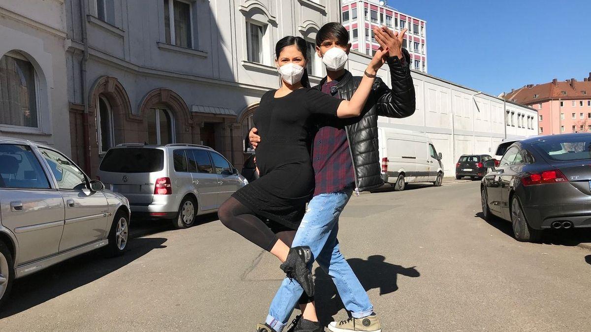 Valeria und Marco González in Tango-Tanzpose in der Südstadt in Nürnberg