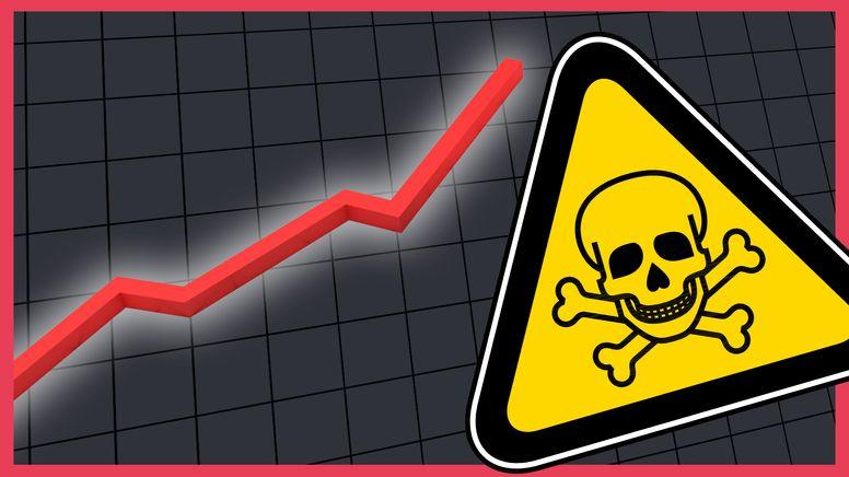 Von links steigt ein roter Graph in die Höhe. Rechts ein gelbes Warnschild mit Totenkopf-Symbol. | Bild:BR24