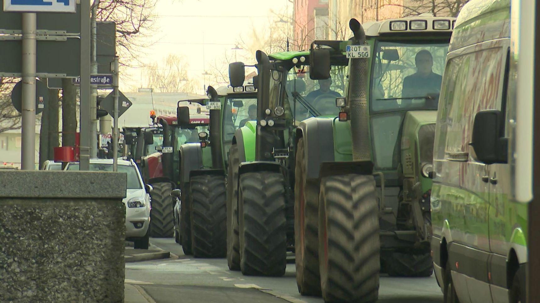 Traktoren in der Nürnberger Innenstadt