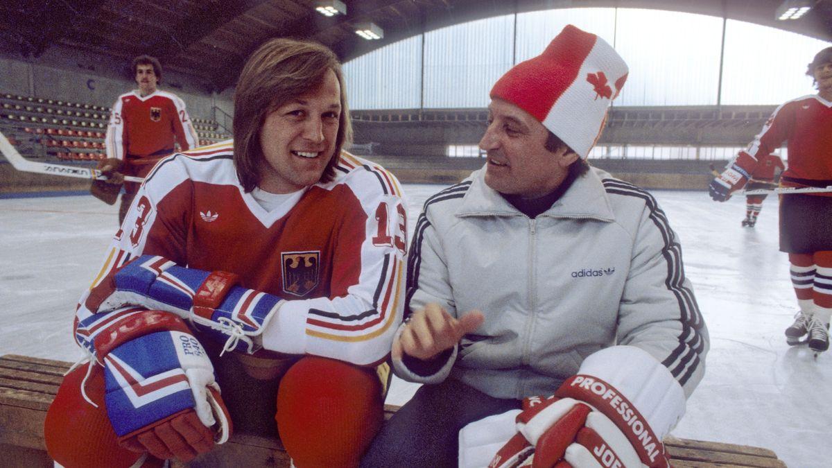 Erich Kühnhackl 1988 mit Bundestrainer Xaver Unsinn
