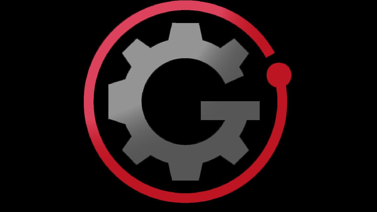 Ein Zahnrad in Form des Buchstabens G auf weißem Hintergrund