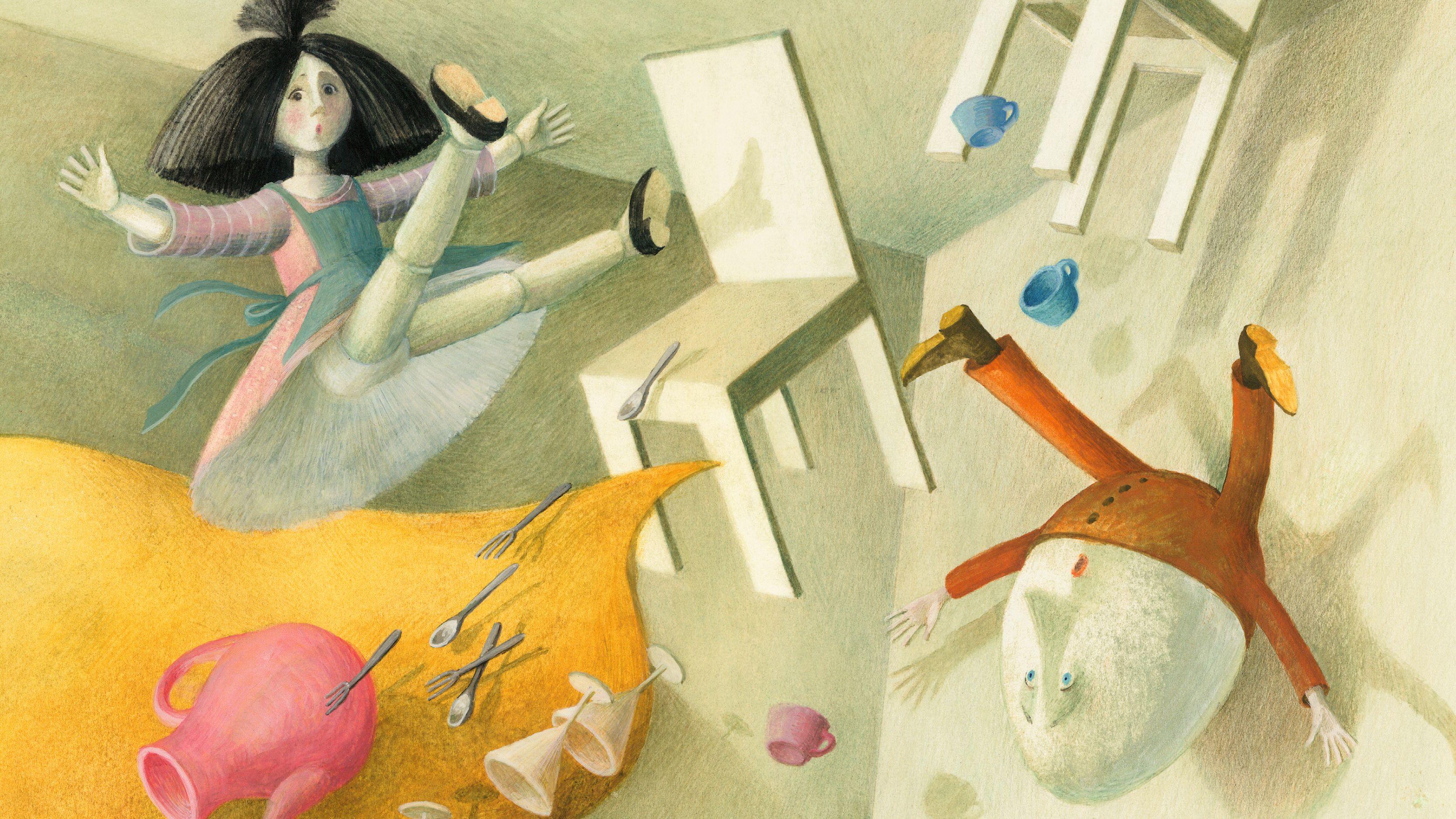 Ein Sturm wirbelt Tisch, Stühle, Geschirr und Besteck durcheinander – auch Lupinchen und Mister Humpty Dumpty fliegen durch die Luft.