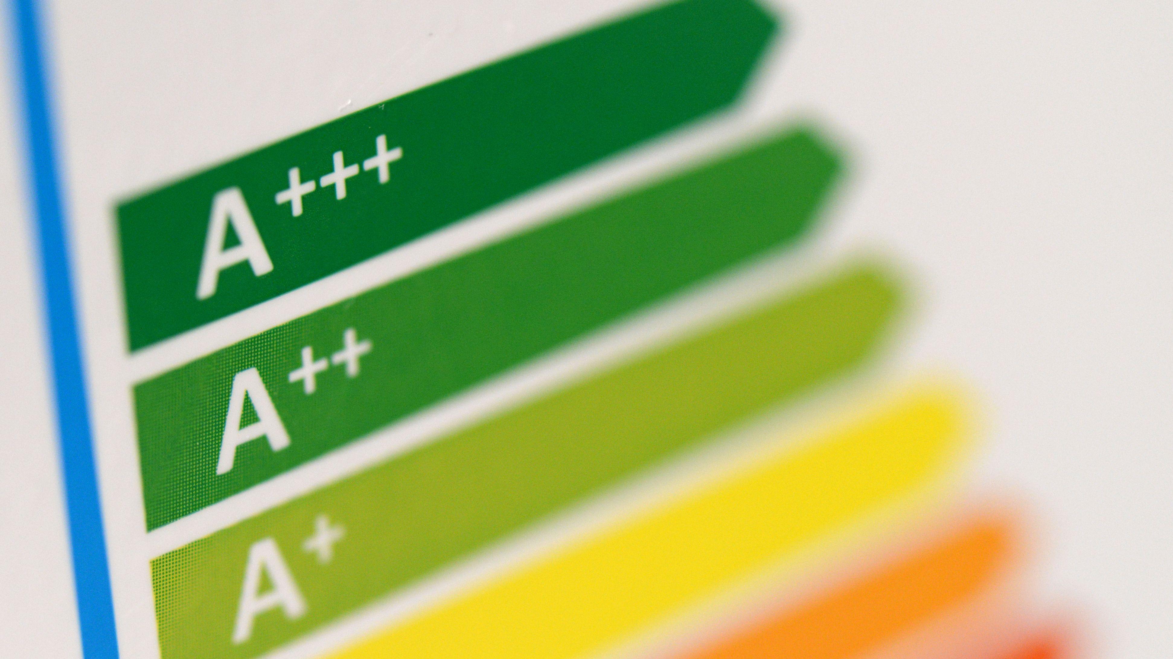 Ein Energielabel mit Ausweisung der Energieeffizienklassen