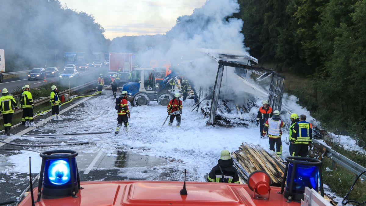 Unfallstelle auf der A7 zwischen Werneck und Gramschatzer Wald