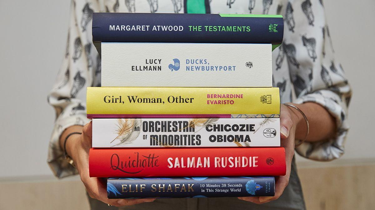 Die sechs Bücher, die für den Booker Prize 2019 zur Wahl stehen.