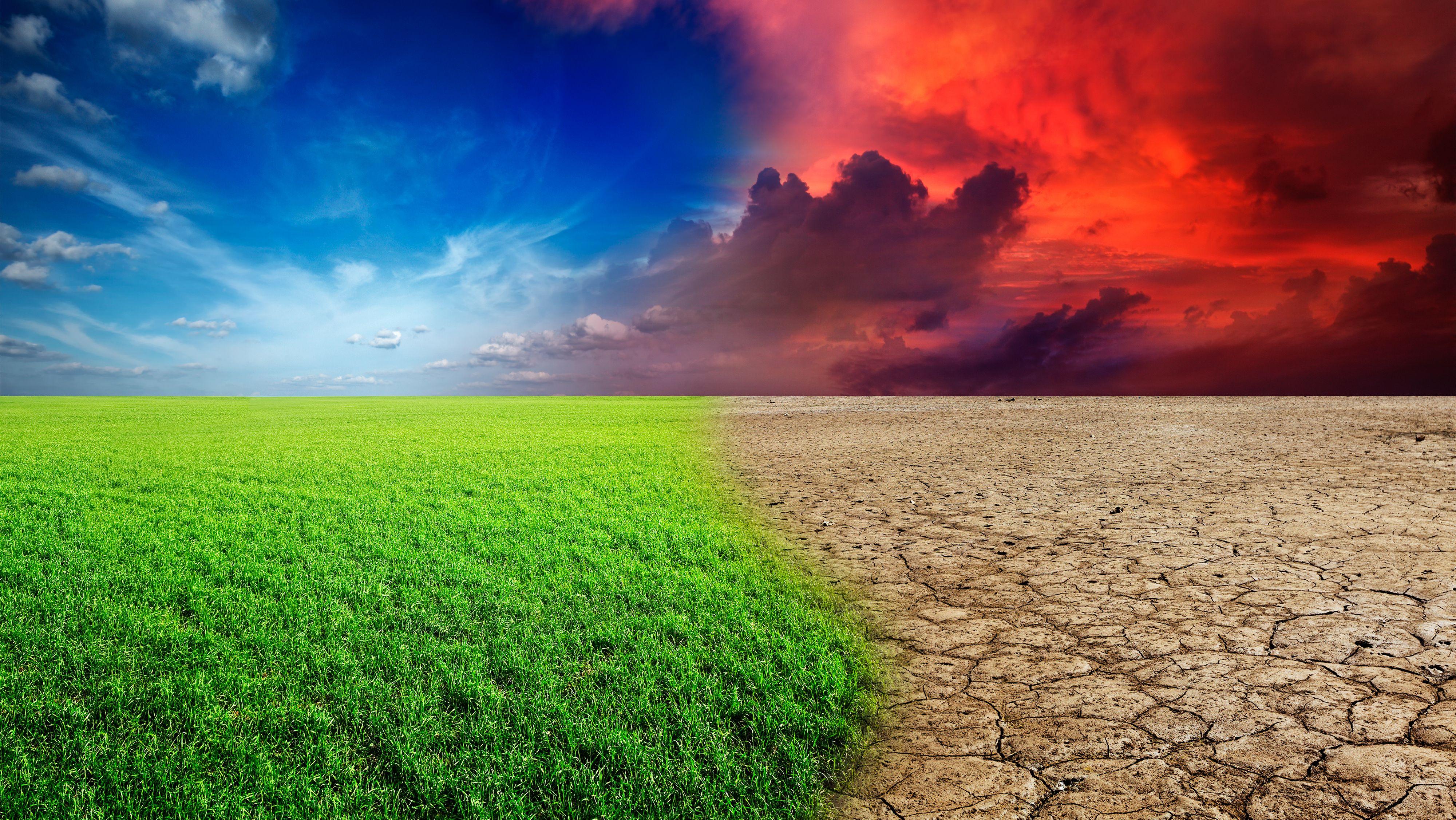 Landschaft mit grüner Wiese wird zu Wüstenlandschaft mit ausgetrocknetem Boden.