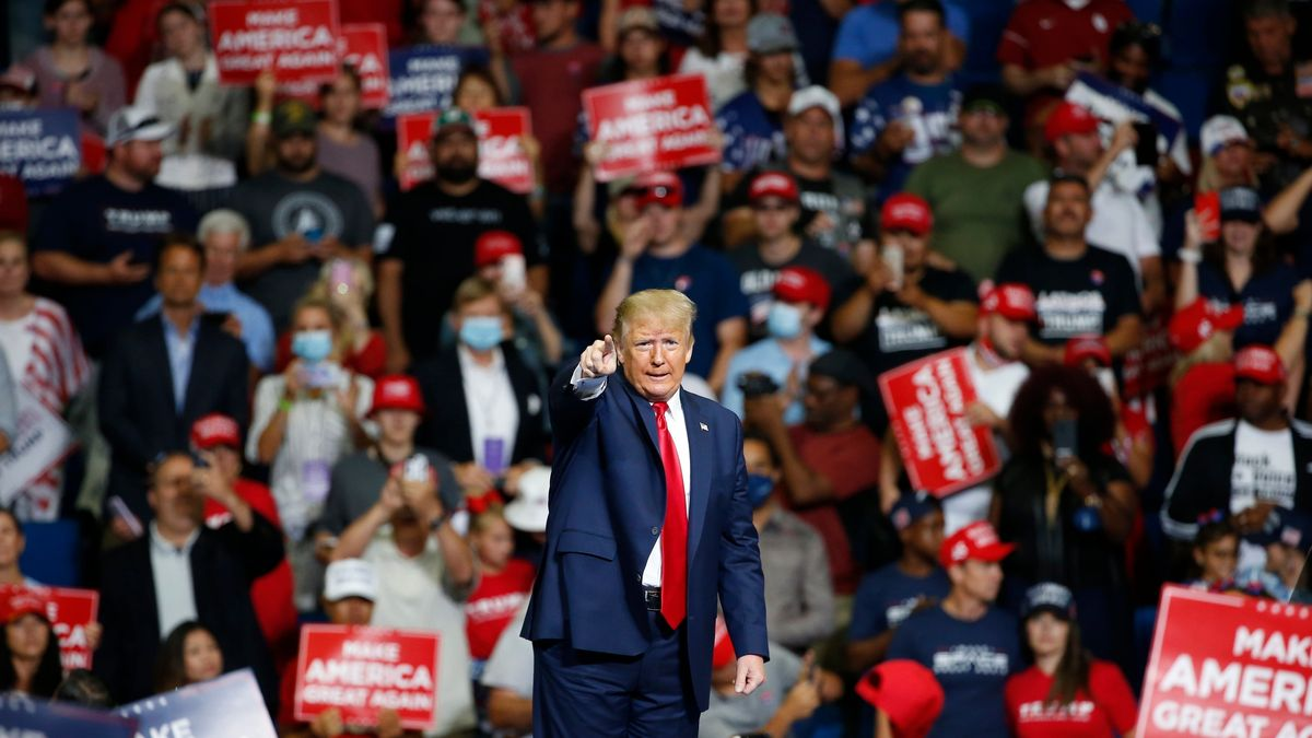 Donald Trump, Präsident der USA, spricht während einer Wahlkampfveranstaltung in Tulsa