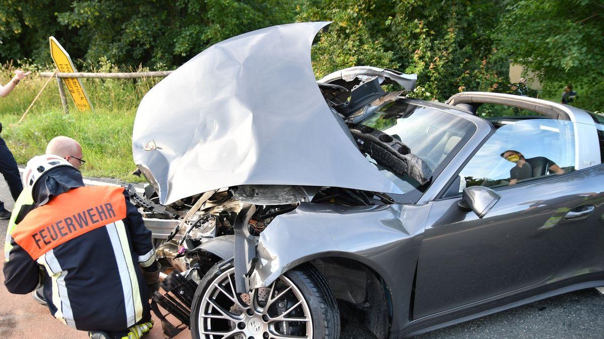 Beschädigter Porsche bei Happurg