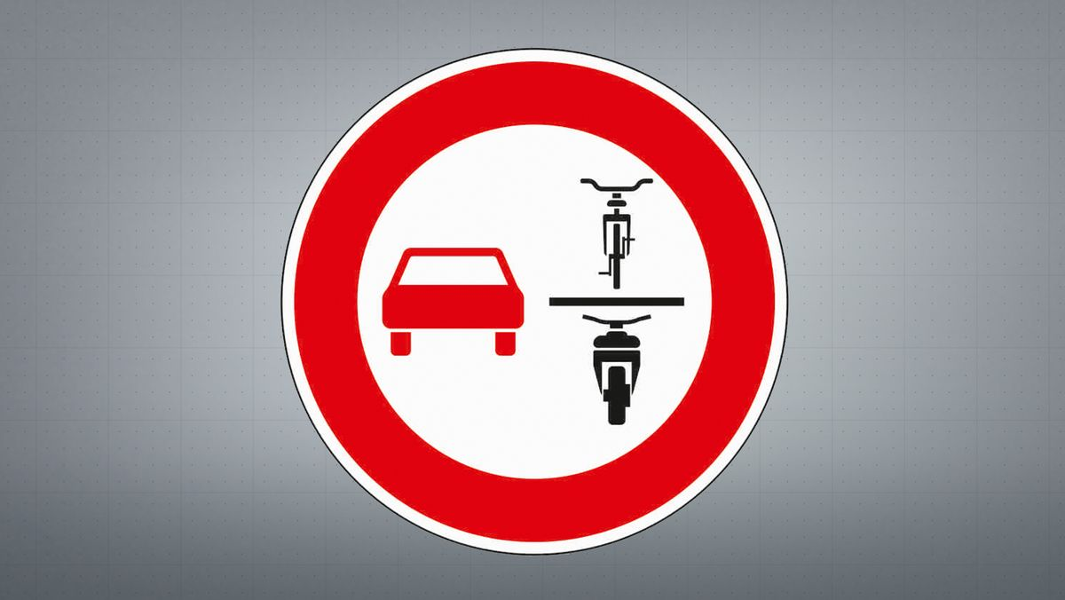Überholverbot von einspurigen und mehrspurigen Fahrzeugen für mehrspurige Kraftfahrzeuge und Krafträder mit Beiwagen.