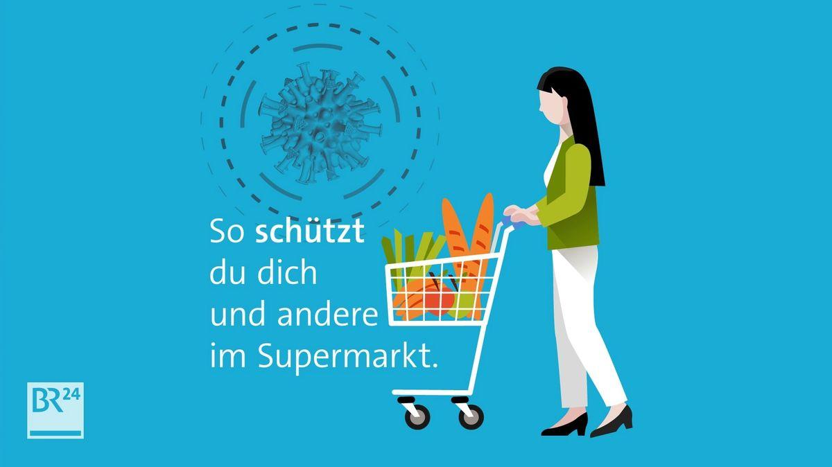 In Supermärkten ist es manchmal schwer, die Abstandsregel einzuhalten. Mit diesen Verhaltenstipps kannst Du auf Nummer sicher gehen und das Ansteckungsrisiko für dich und andere minimieren.