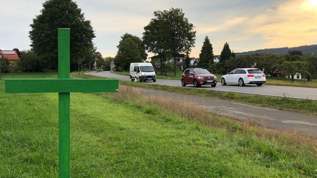 Grüne Kreuze am Straßenrand als stiller Protest der Landwirte