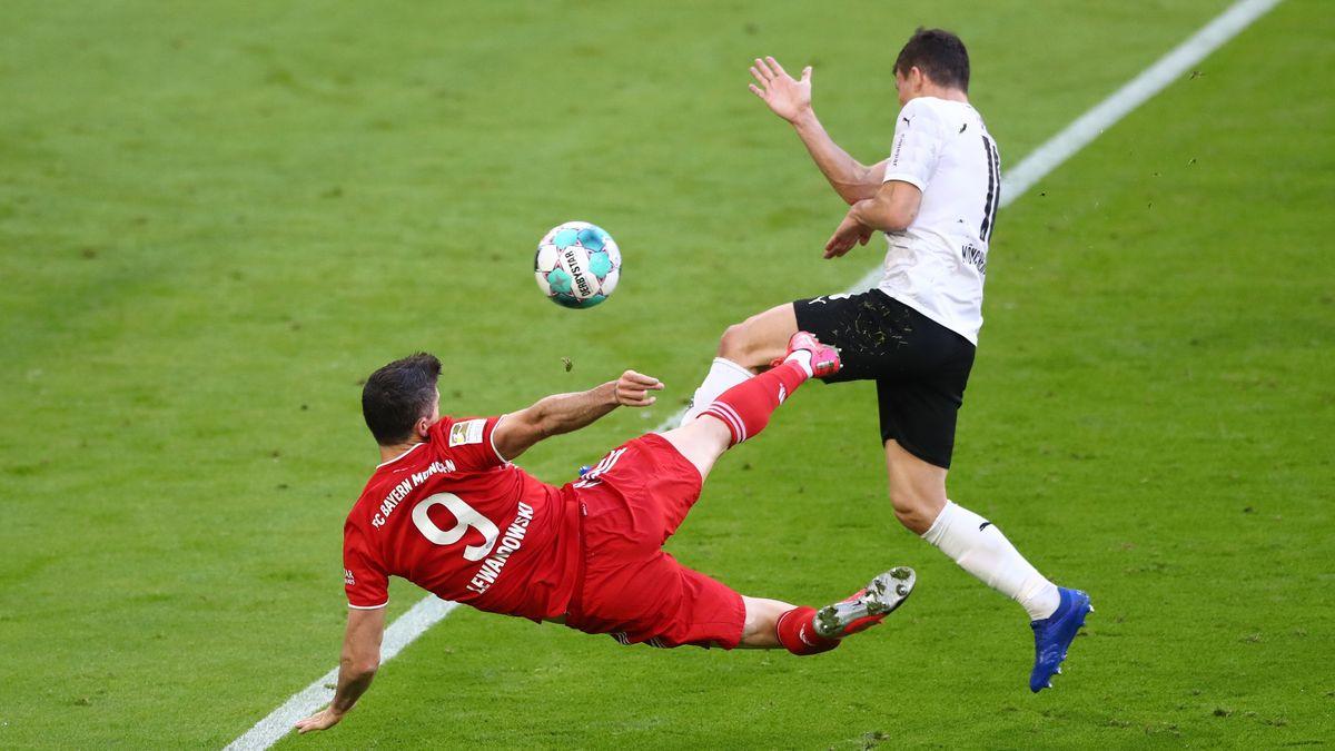 Lewandowski Seitfallzieher zum zwischenzeitlichen 3:0 gegen Gladbach war sein Saisontreffer No. 38