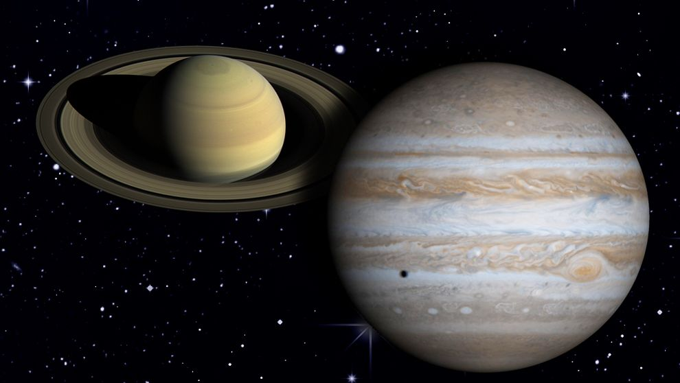 Jupiter und Saturn am Sternenhimmel (Collage)