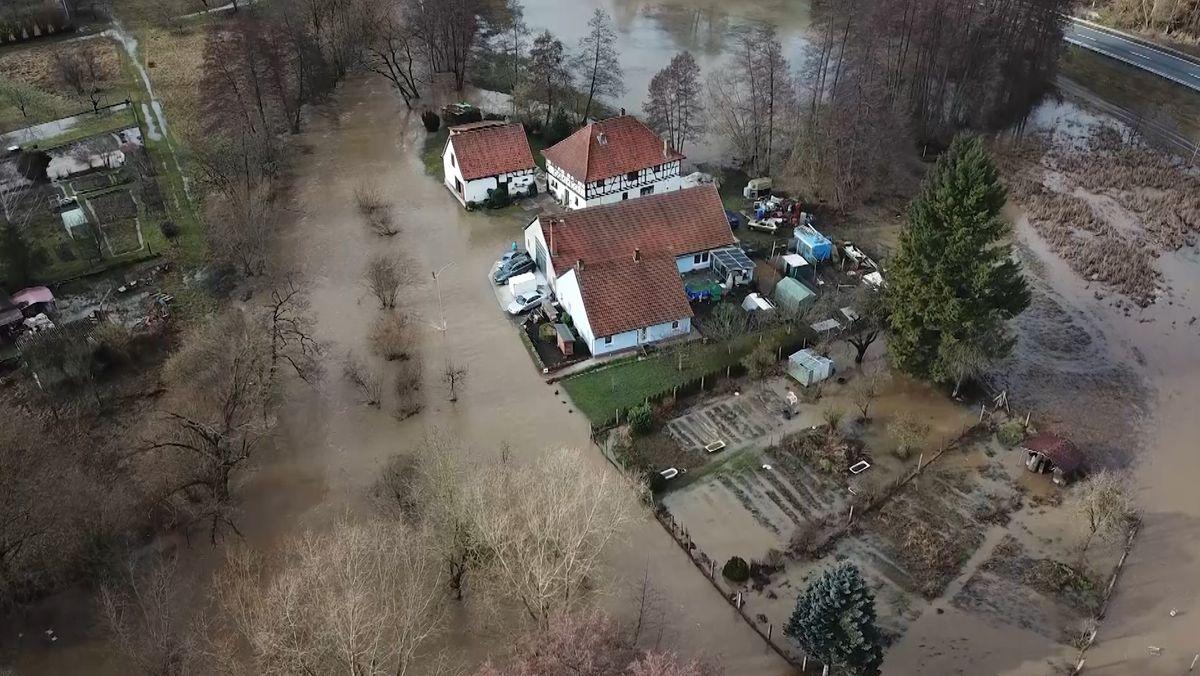 Hochwasser der Streu bei Unsleben