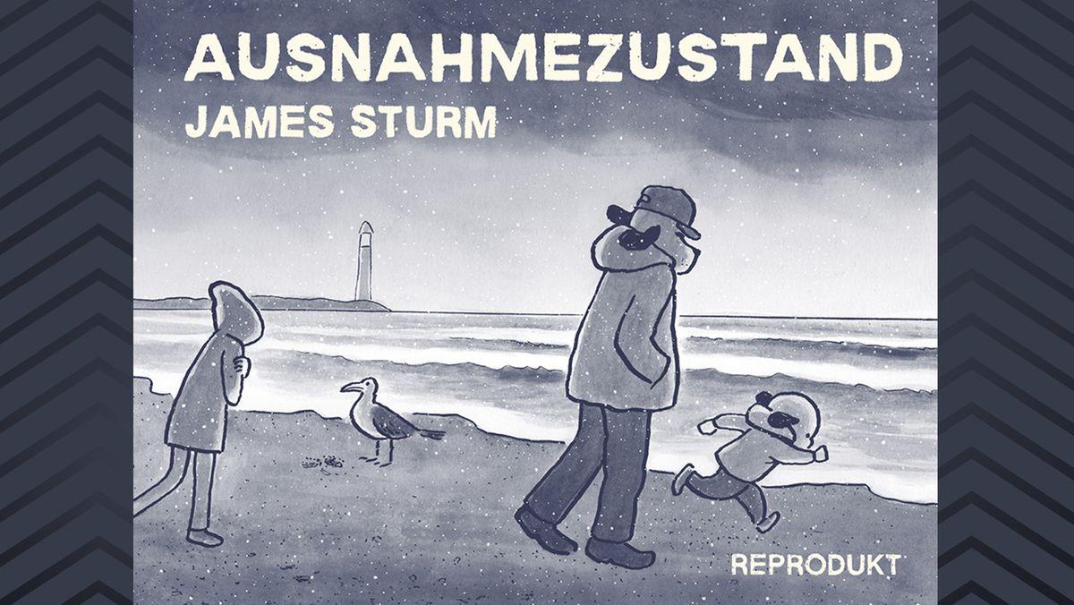 """Ein Mann im Anorak und Hundekopf stämmt isch an einem Strand mit zwei Kindern gegen den Wind. Cover: """"Ausnahmezustand"""" Graphic Novel von James Sturm"""
