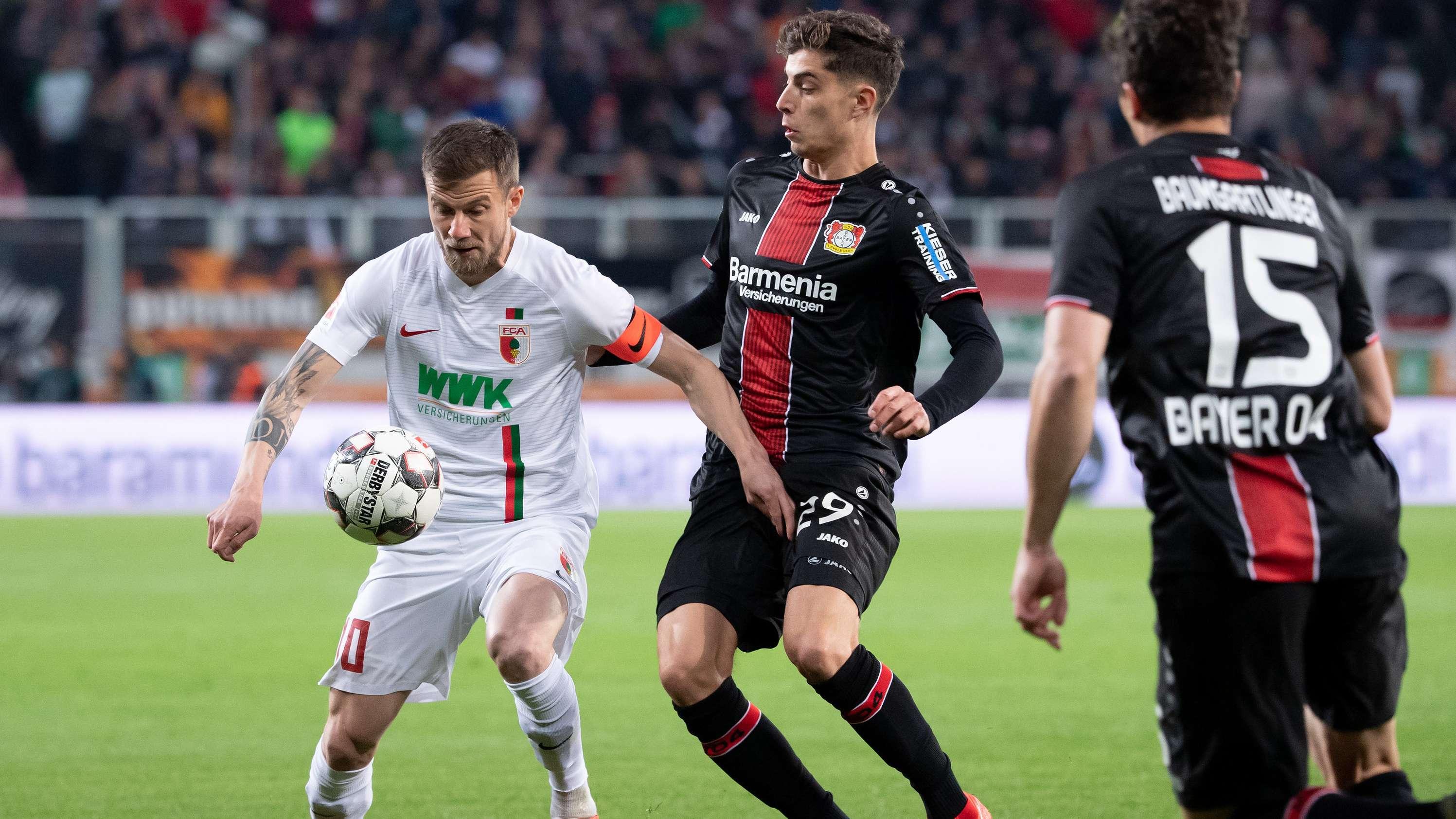 Szene aus dem Spiel Augsburg gegen Leverkusen