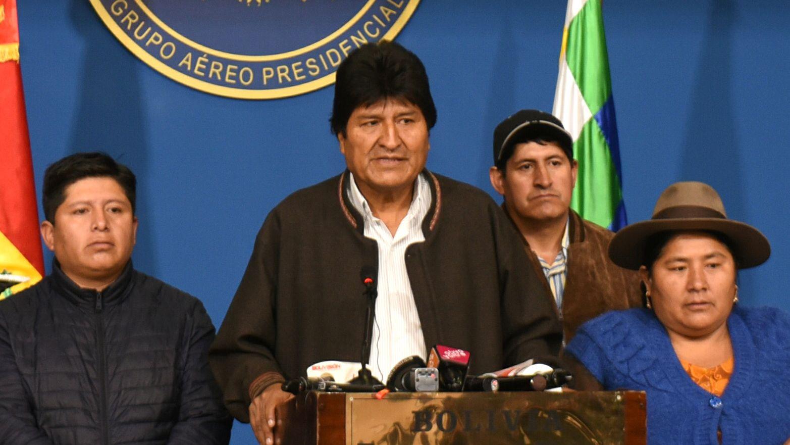 Der bolivianische Präsident Evo Morales bei einer Pressekonferenz in El Alto.