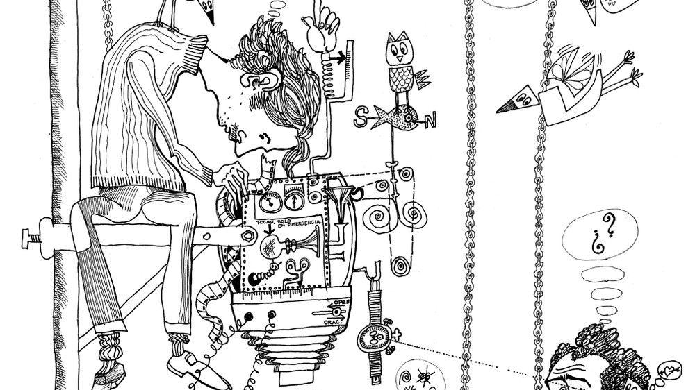 Konzentrierter Blick auf die Welt: Zeichnung eines Mannes, der auf einer Stange sitzt und durch einen Apparat in die Welt schaut.
