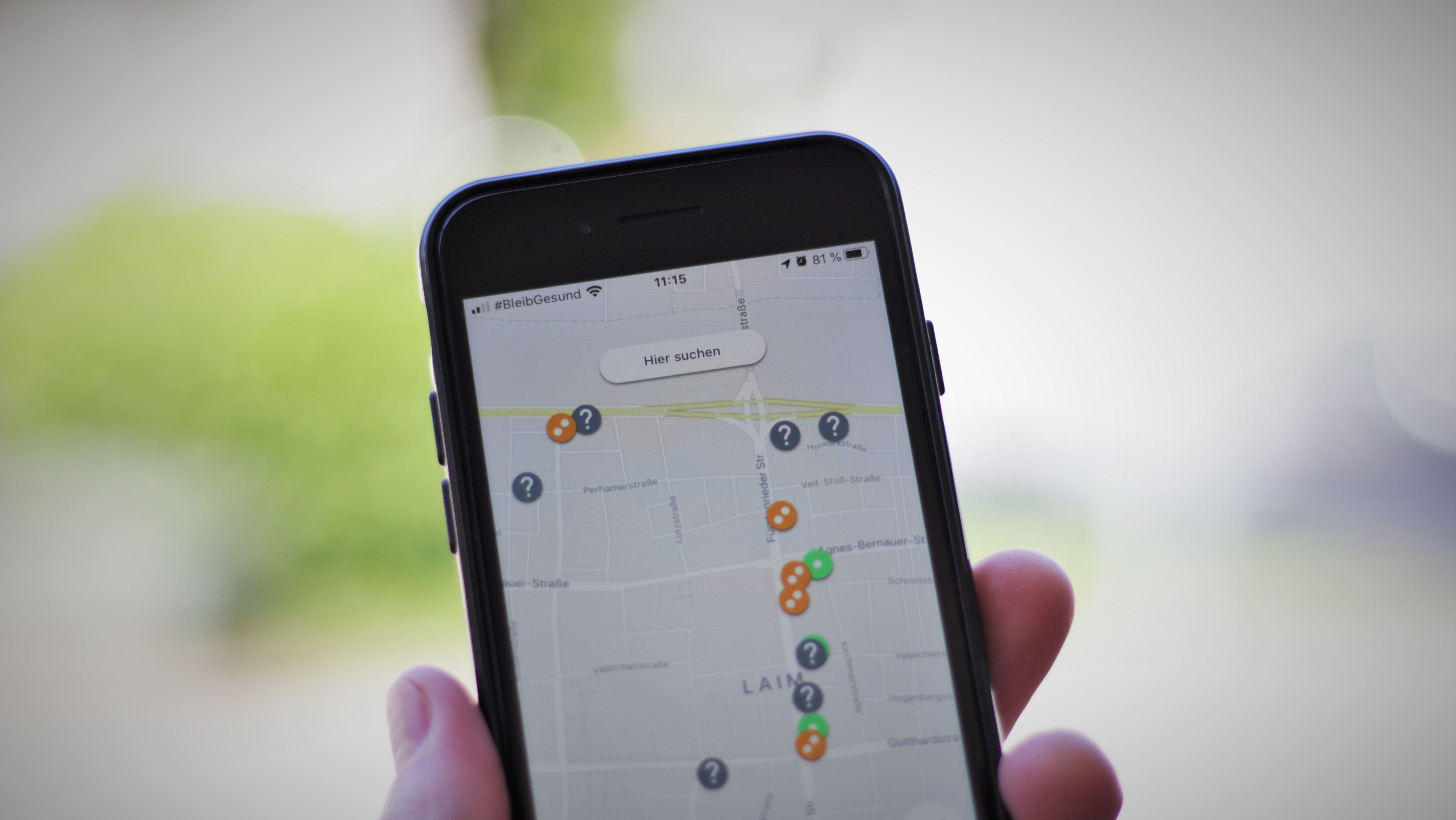 Karte mit Markierungen der App crowdless