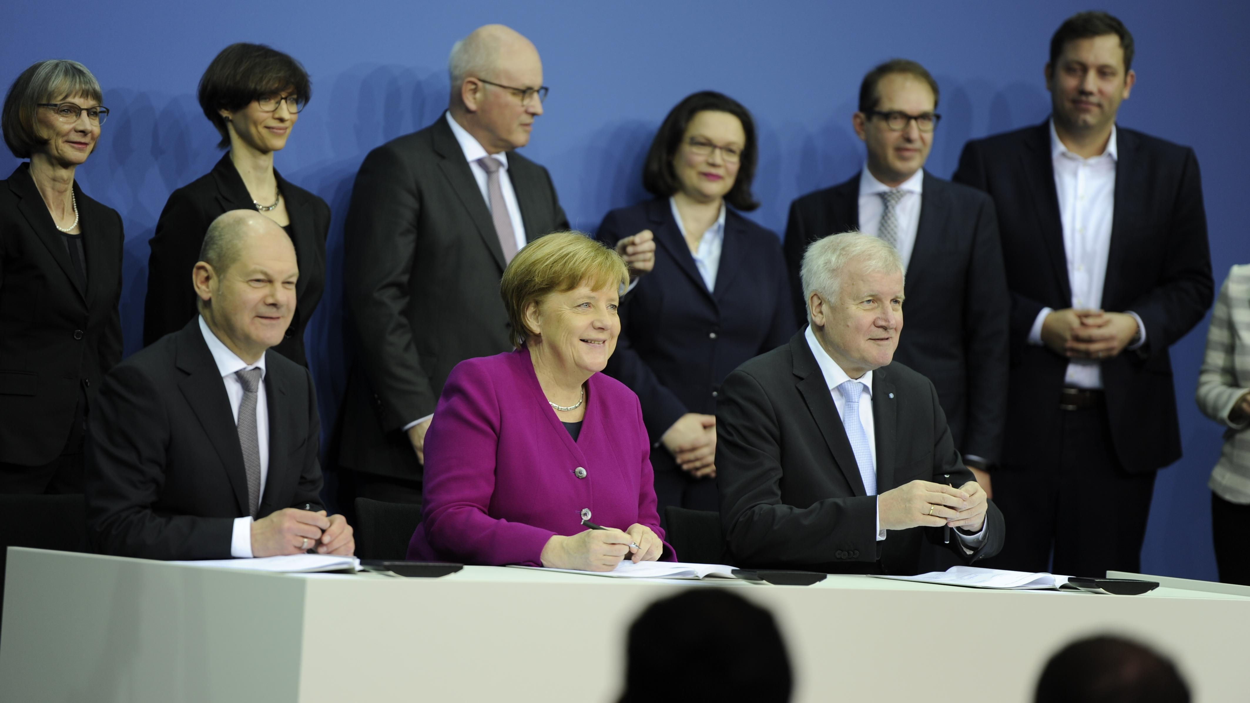 März 2018: Pressekonferenz zum Koalitionsvertrag zwischen SPD und CDU/CSU