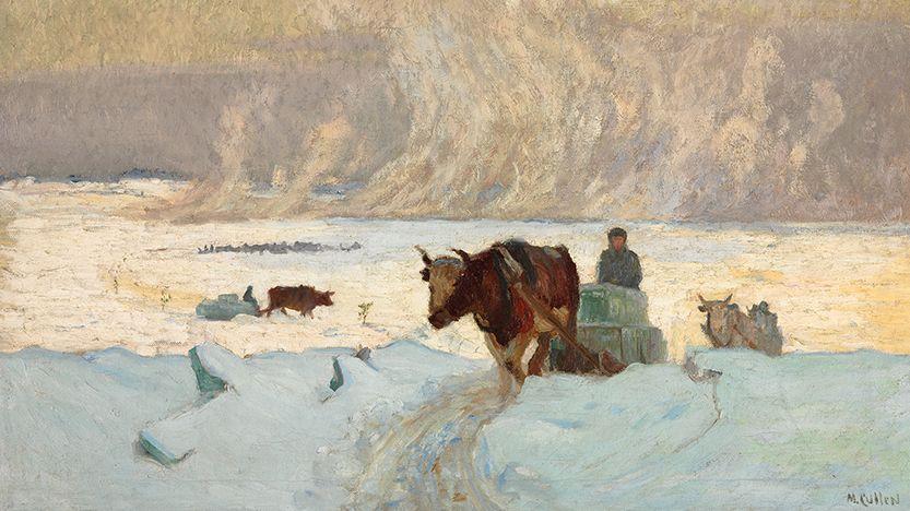 Ochsen ziehen Schlitten mit Eisblöcken in einer Winterlandschaft , ein Bild des Malers Maurice Cullen