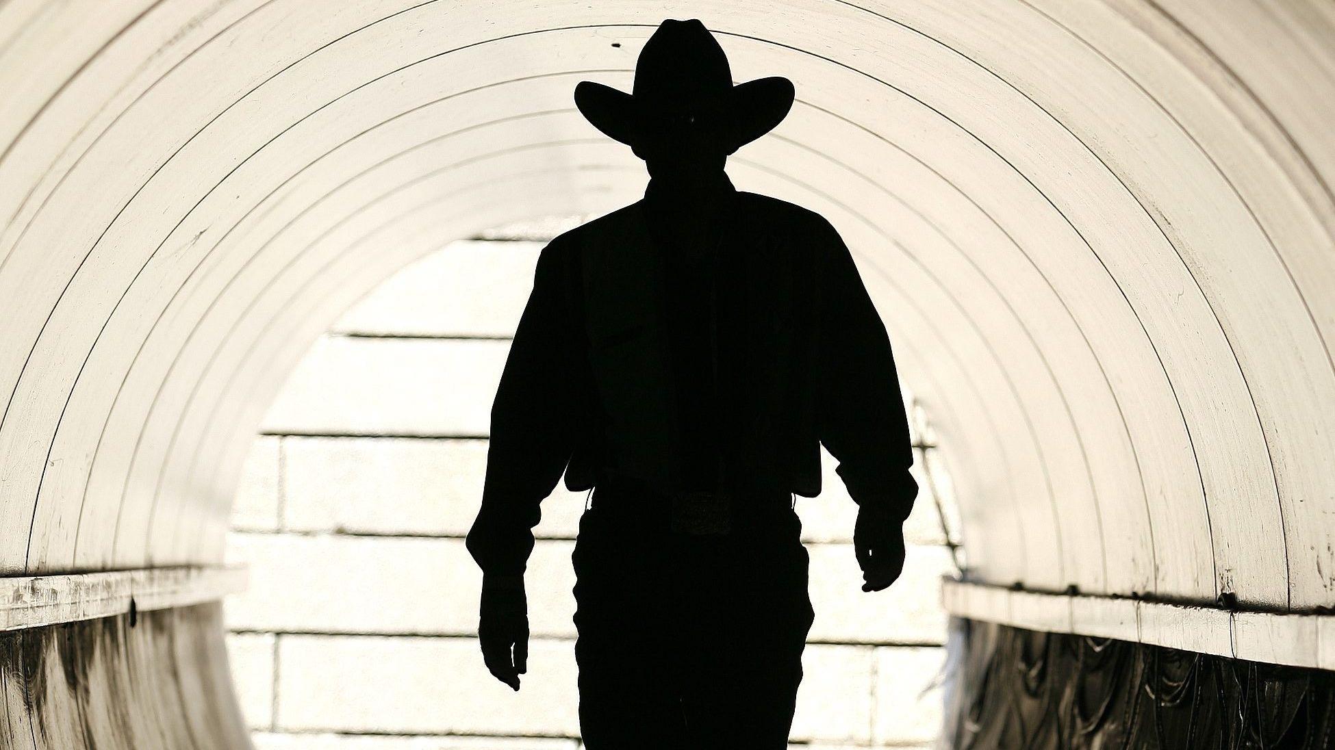 Silhouette eines Cowboys