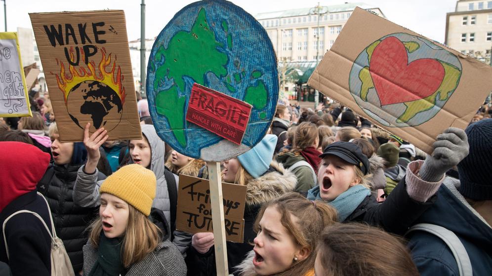 Schüler halten selbst gebastelte Plakate hoch | Bild:dpa-Bildfunk / Christian Charisius