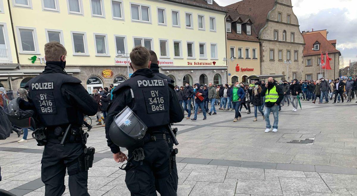 Demonstration gegen die Corona-Auflagen in Schweinfurt.