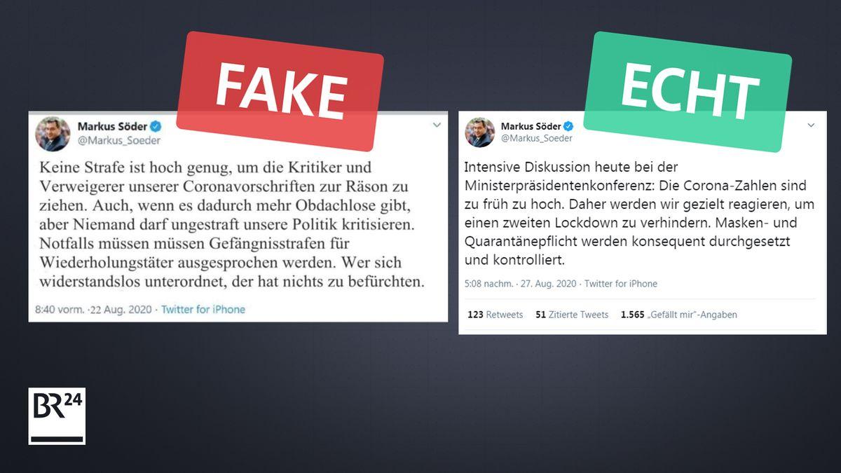 Die Schriftarten zwischen der Fälschung und einem Originalbeispiel aus Twitter unterschieden sich offensichtlich.