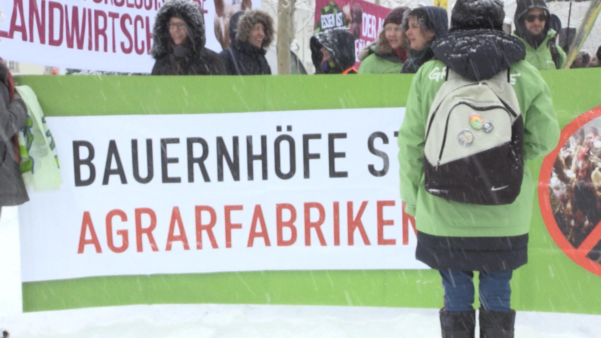 Rund 400 Menschen trotzten dem Schneefall bei der Demonstration und   forderten die Vorantreibung einer ökologischen Landwirtschaft.