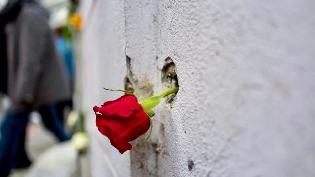 Eine Rose in einem Einschussloch am Wiener Schwedenplatz.