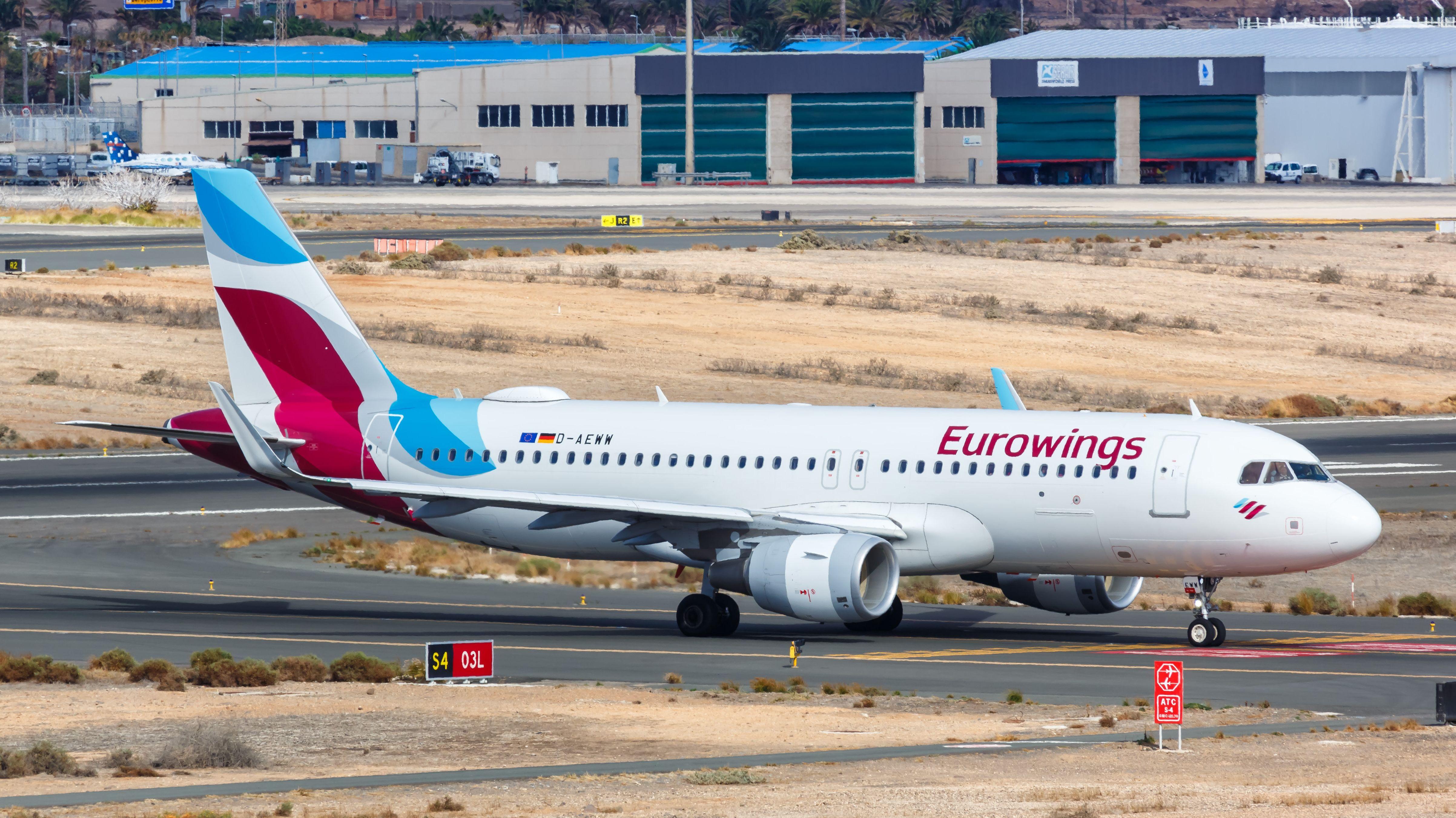 Eurowings-Flugzeug auf dem Flughafen Gran Canaria