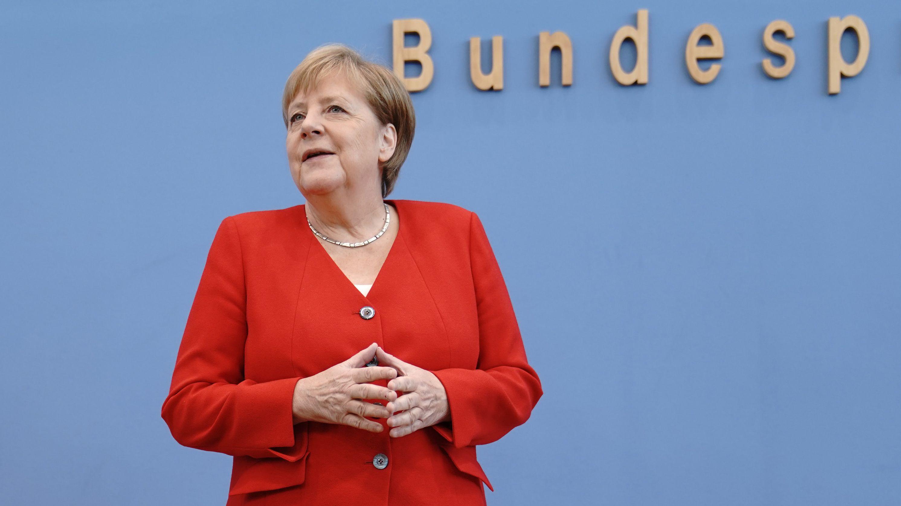 Angela Merkel bei der Bundespressekonferenz in Berlin