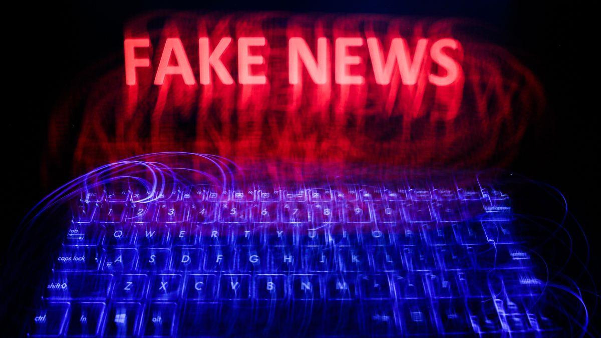 """Schrift """"Fake News"""" auf dem Display eines Notebooks"""