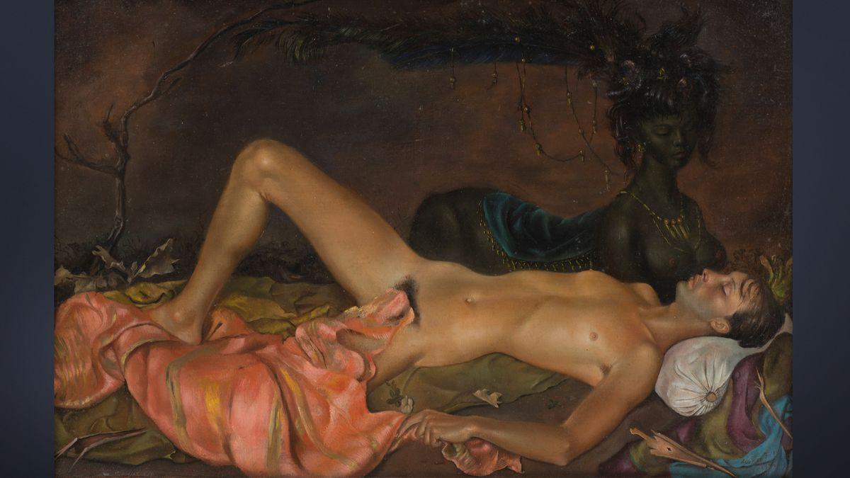 Leonor Fini, Erdgottheit, die den Schlaf eines Jünglings bewacht, 1946